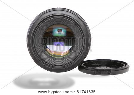 Ojective(lens Glass) Isolated on White.
