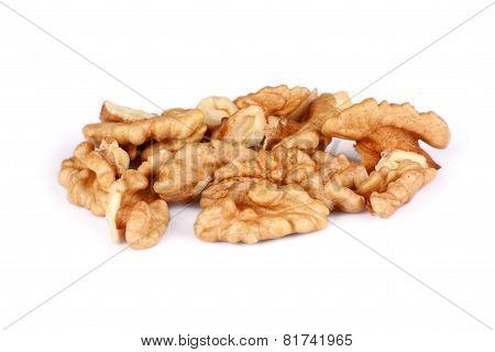 Group Of Cracked Walnut Isolated On White Background