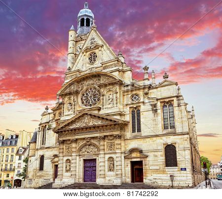 Church Of Saint-etienne-du-mont (1494-1624) In Paris Near Pantheon.