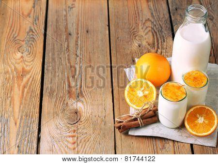 Breakfast Time (homemade Yogurt, Orange And Cinnamon Jam, Milk)