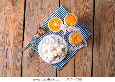 Breakfast Time (homemade Yogurt, Cottage Cheese; Orange Jam)