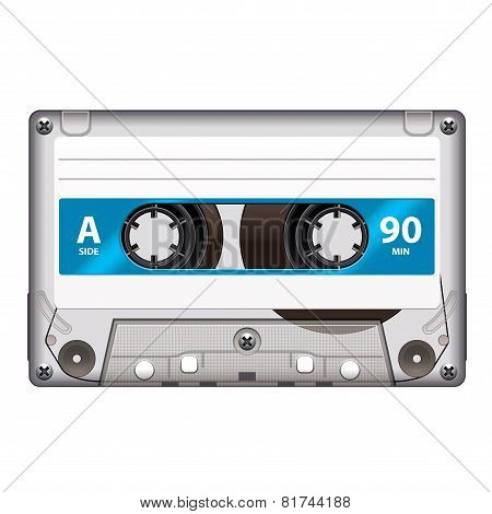 Retro Cassette Tape Isolated On White Vector