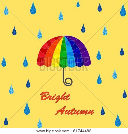 Rain and rainbow umbrella pattern