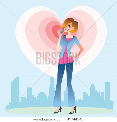 Young Woman Talking On The Phone Heart