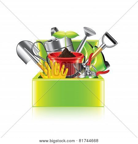 Garden Tools Box Isolated On White Vector