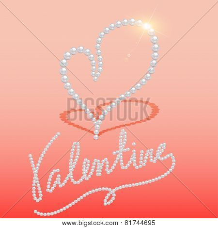 Background With Heart Made Of Pearls On Valentine's Day