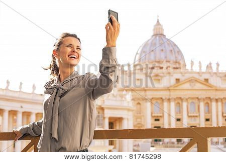 Young Woman Making Selfie On Piazza San Pietro In Vatican City S