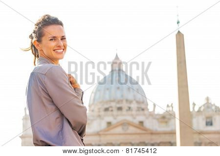 Portrait Of Happy Young Woman On Piazza San Pietro In Vatican Ci
