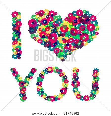 Grunge heart with text I love you. Vector illustration.