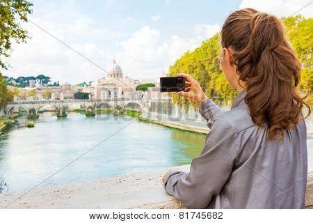 Young Woman Taking Photo While On Bridge Ponte Umberto I With Vi