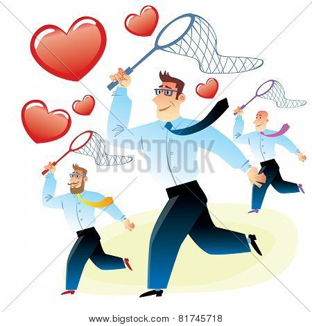Men In Search Of Love Caught Red Heart Butterfly Net