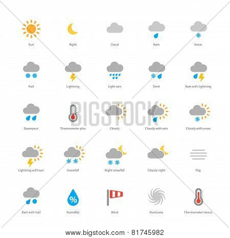 Weather colored icons on white background.