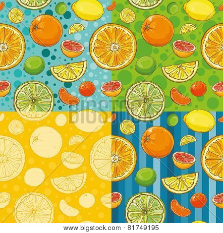 Vector Seamless Patterns With Citrus Fruits