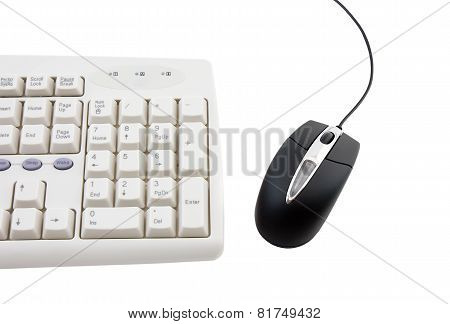 Black Computer Mouse And Part Of Keyboard.