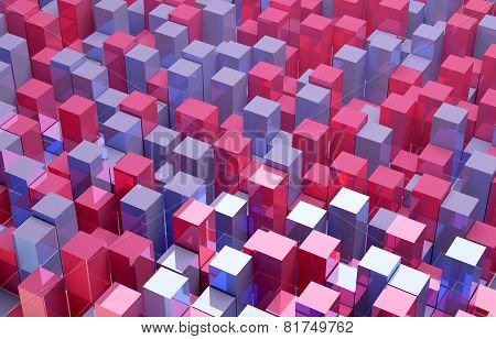 Abstract background of red and blue cubes