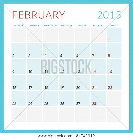 Calendar 2015 Vector Flat Design Template. February. Week Starts Monday