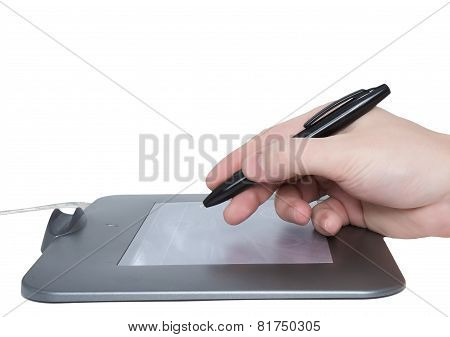 Pen Tablet And Draw Hand. Isolated.