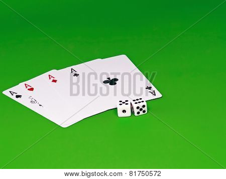 Four Aces And Dice On Green Broadcloth .