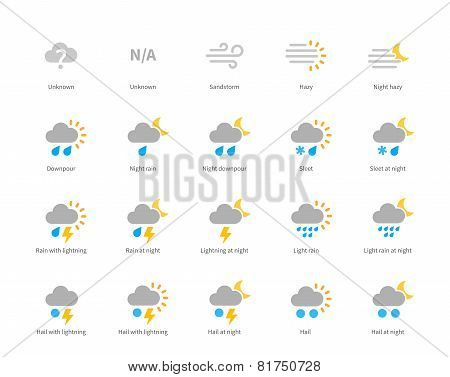 Meteorology colored icons on white background.