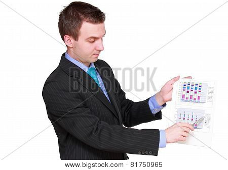Businessman Show On Exchange Diagrams. Isolated
