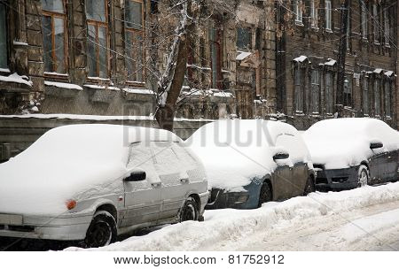 Cars Covered With Fresh Snow