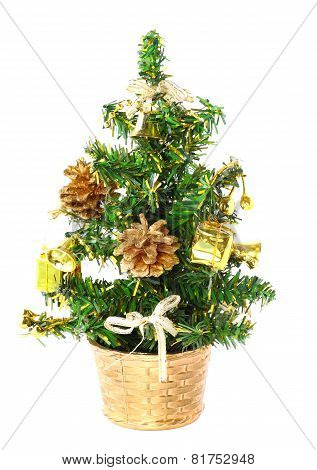 Little Basket With New Year Tree. Decoration