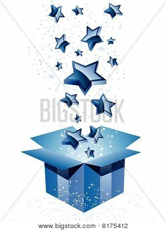 Gift Box Blue with Stars.