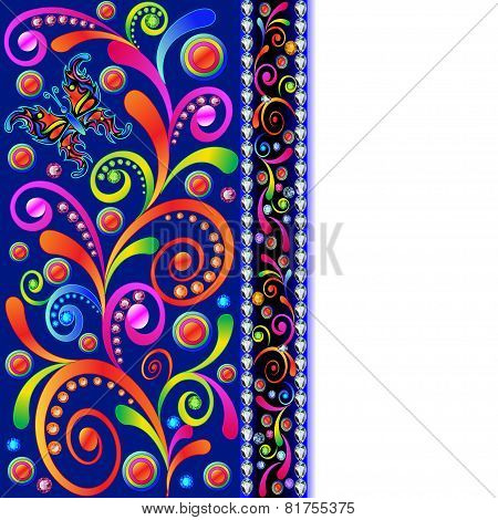 Background With Swirls, Butterfly And Precious Stones