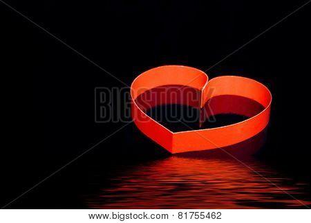 St. Valentine Day. Single  Heart On Black.
