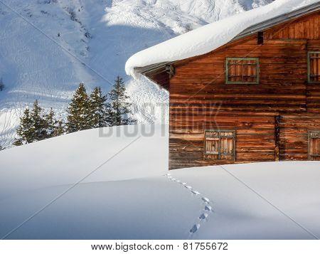 Snow track to the ski lodge