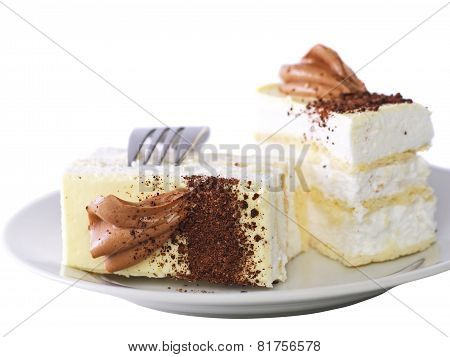 Sponge Cakes With Cup Of Coffee  . Isolated
