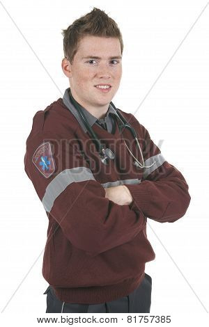 Paramedic employee in the front of a white background
