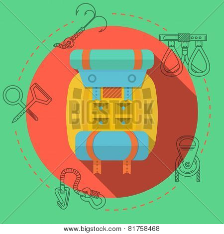 Flat design vector illustration for rock climbing. Backpack