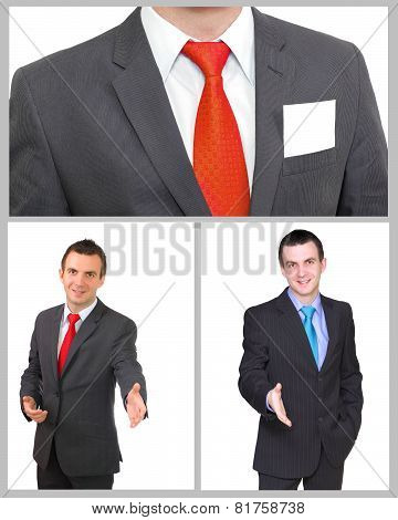 Set (collection) Of European Businessman.  Isolated Over White .