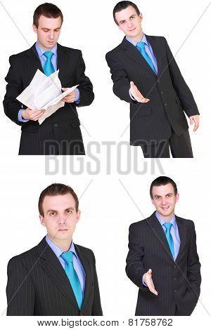 Set Of Caucasian  Businessman On White. Isolated.