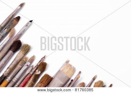 Old Used Paintbrushes