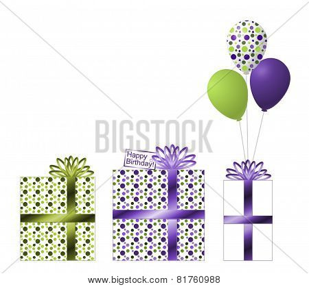 Purple and Green Birthday Gifts and Ballons