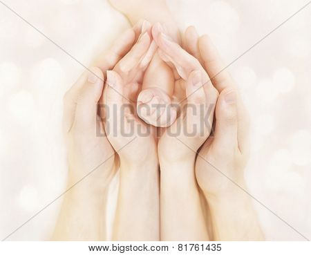 Family Hands And Baby New Born Arm, Mother Father Children Body, Embrace Newborn Kid Hand
