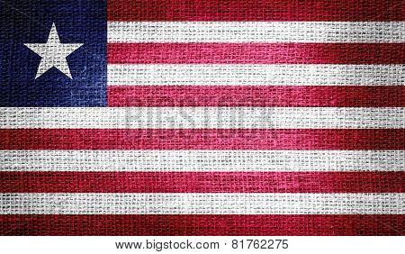 Liberia flag on burlap fabric