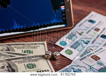 Usd, Russian Rouble Banknotes, Dices Cubes, Financial Chart, Tablet