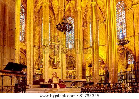 SPAIN, BARCELONA-AUGUST  1, 2014:  Inside Cathedral. Cathedral of the Holy Cross and Saint Eulalia.