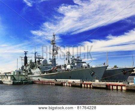 Flagship Military Ship In Gulf.