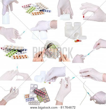 Collage Of Medicine-pills,bottle,syringe Etc.