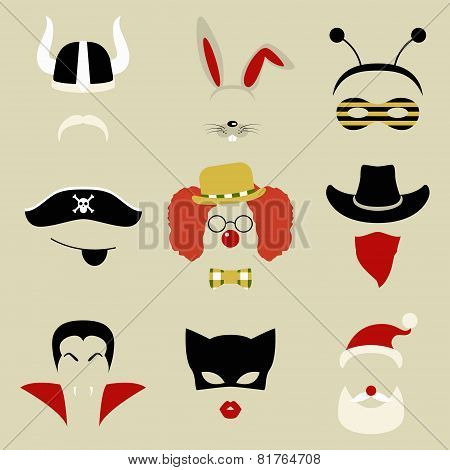 Retro Party set for photo booth and scrapbooking - viking, rabbit, bee, pirate, clown, cowboy, Dracu