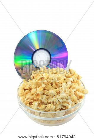 Bowl Full Of Caramel Popcorn With Dvd Disk