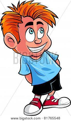 Cartoon of cute little boy