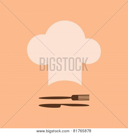 Chef Hat And Fork With Knife
