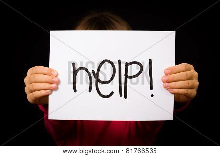 Child Holding Help Sign