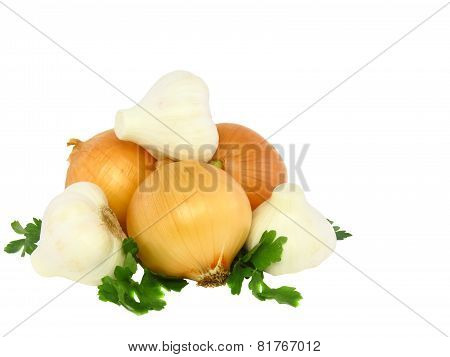 Still-life-garlic,onions Decorating Of Parsley.