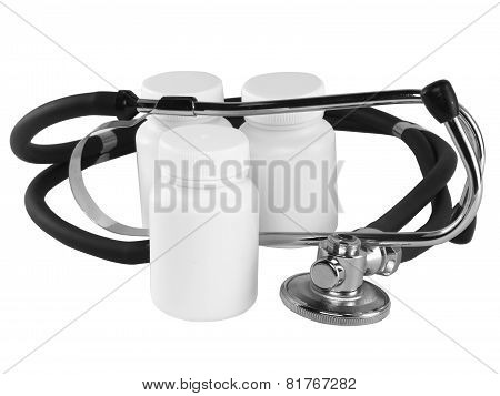 Stethoscope With Medicine  Bottles On White.